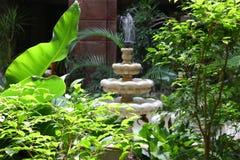 Fontanna w tropikalnych drzewach Zdjęcia Royalty Free