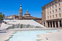 Fontanna w Zaragoza, Hiszpania Zdjęcie Royalty Free