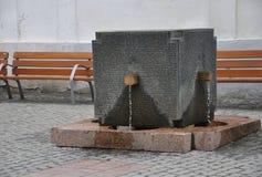 Fontanna zabytek od 1989 w Timisoara miasteczku od Banat okręgu administracyjnego w Rumunia Zdjęcia Royalty Free