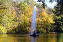 Fontanny bicie po środku rzeki przeciw tłu jesień krajobraz z drzewami z deciduous zdjęcie stock
