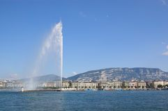 fontanny Geneva jeziora widok Obrazy Royalty Free