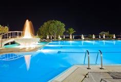 fontanny noc basenu woda Zdjęcie Royalty Free