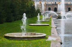 fontanny obniżają parkowego peterhof Fotografia Royalty Free