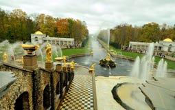 Fontanny Peterhof, Rosja Zdjęcia Royalty Free