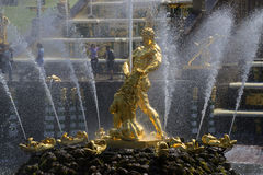 Fontanny ` Samson, drzeje lwa ` s usta ` zbliżenie Petrodvorets Fotografia Royalty Free