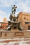 Fontanta del nettuno. Fontana del nettuno fountain with snow bologna royalty free stock photography
