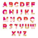 Fonte abstrata moderna com brilho As letras criativas de ABC podem ser usadas para a venda, festa de anos, loja, presente, encabe Imagens de Stock