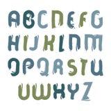 Fonte acrilica di vettore, lettere scritte a mano dell'acquerello Immagine Stock