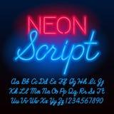 Fonte al neon di alfabeto dello scritto Lettere minuscole e maiuscole di colore blu e numeri illustrazione vettoriale