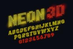 Fonte al neon di incandescenza 3d Fotografia Stock