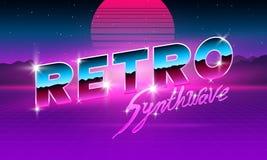 fonte al neon porpora di 80 s una retro Lettere futuristiche del cromo del metallo Alfabeto luminoso su fondo scuro Segno leggero illustrazione di stock