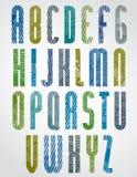 A fonte alta do cartaz do estilo retro com linhas de intervalo mínimo imprime a textura Imagem de Stock