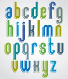 Fonte animado colorida, letras minúsculas arredondadas com branco para fora Imagens de Stock