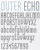 """fonte arrotondata a strisce del  di ECHO†del """"OUTER retro Fotografie Stock"""
