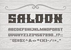Fonte audace d'annata decorativa dei caratteri tipografici con grazie sui precedenti di vecchie plance di legno bianche royalty illustrazione gratis