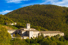 Fonte Avellana hermitage. Fonte Avellana is a Roman Catholic hermitage in Serra Sant'Abbondio in the Marche region of Italy Royalty Free Stock Images