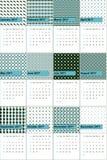 A fonte azul e a folha de palmeira coloriram o calendário geométrico 2016 dos testes padrões Fotografia de Stock