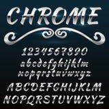 Fonte brilhante retro de Chrome, do vintage, caráter tipo, mado do metal ou aço ilustração royalty free