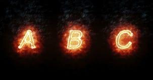 Fonte bruciante a, b, c, testo di parola del fuoco con la fiamma e fumo su fondo nero, concetto della decorazione di alfabeto di  illustrazione di stock