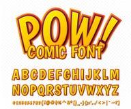 Fonte cômica criativa Alfabeto do vetor no pop art do estilo ilustração royalty free