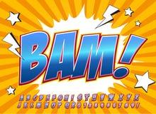 Fonte cômica do detalhe alto criativo Alfabeto ao estilo da banda desenhada, pop art Imagens de Stock Royalty Free