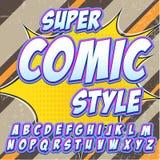 Fonte cômica do detalhe alto criativo Alfabeto ao estilo da banda desenhada, pop art Letras e figuras para a decoração Fotografia de Stock Royalty Free