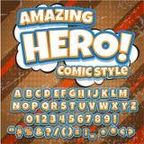 Fonte cômica do detalhe alto criativo estilo do herói da banda desenhada, das letras do pop art e das figuras para a decoração da Imagem de Stock