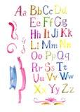 Fonte caligráfica tirada mão do alfabeto colorido da aquarela Fotografia de Stock Royalty Free