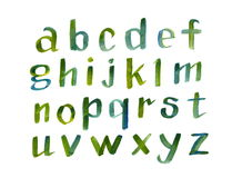 Fonte caligráfica tirada mão do alfabeto colorido da aquarela Letras da aquarela Ilustração do vetor Fotos de Stock Royalty Free