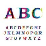A fonte colorida que consiste em três letras Fotografia de Stock