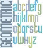 Fonte colorida retro com linhas repetidas, letra geométrica do cartaz Foto de Stock Royalty Free