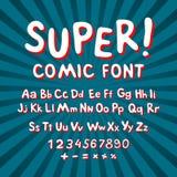 Fonte comica creativa Alfabeto nello stile dei fumetti, Pop art Le lettere divertenti a più strati del cioccolato & di rosso 3d e Immagine Stock Libera da Diritti