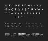Fonte con gli angoli molli, alfabeto lineare di caratteri sans serif, lettere bianche moderne, fonte universale per modo, annunci royalty illustrazione gratis
