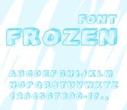 Fonte congelata Alfabeto del ghiaccio ABC trasparente Lettere blu fredde Fotografie Stock