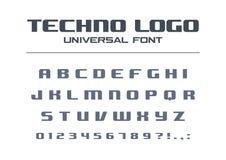Fonte corajosa da tecnologia Estilo geométrico da tipografia Esporte, alfabeto futurista, futuro do techno Letras, números para ilustração stock