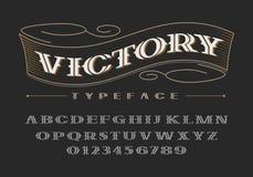 Fonte corajosa decorativa do serif Letras e números de caixa Foto de Stock Royalty Free