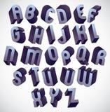 fonte corajosa e grande de 3d, alfabeto dimensional monocromático feito com ilustração do vetor