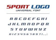 Fonte corsiva universale di logo di sport Alfabeto futuristico, atletico, dinamico veloce e forte Lettere, numeri per il livello royalty illustrazione gratis