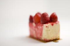 Fonte délicieuse de gâteau de fraise Photo libre de droits
