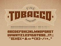 Fonte d'annata decorativa sui precedenti della struttura della foglia del tabacco royalty illustrazione gratis