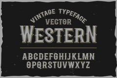Fonte d'annata dell'etichetta di vettore Retro fonte tipografica Fotografia Stock