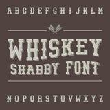Fonte d'annata misera del whiskey Progettazione dell'etichetta della bevanda dell'alcool illustrazione vettoriale