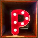 Fonte d'ardore del carattere A di alfabeto della lettera della lampadina Fotografia Stock Libera da Diritti
