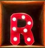 Fonte d'ardore del carattere A di alfabeto della lettera della lampadina Fotografie Stock Libere da Diritti