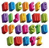a fonte 3d, vector as letras corajosas e pesadas, geométricas ilustração do vetor