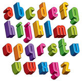 a fonte 3d, vector letras coloridas, alfabeto dimensional geométrico Fotografia de Stock