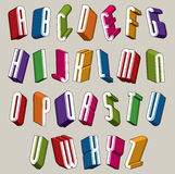 a fonte 3d, vector letras coloridas, alfabeto dimensional geométrico Imagens de Stock