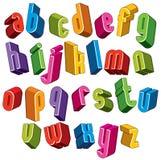 a fonte 3d, vector letras coloridas, alfabeto dimensional geométrico Imagens de Stock Royalty Free