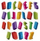 a fonte 3d, vector letras coloridas, alfabeto dimensional geométrico ilustração do vetor