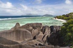 Fonte D& x27 di Anse; Argento, La Digue, Seychelles Fotografia Stock Libera da Diritti